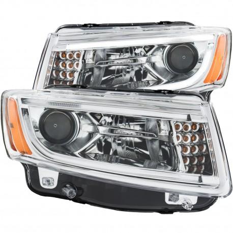 Jeep Grand Cherokee 14-15 Pantallas delanteras Headlights Estilo Cromo Clear / Set de 2 PCS Lados Izquierdo y Derecho