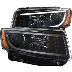 Jeep Grand Cherokee 14-15 Pantallas delanteras Headlights Estilo Black Clear / Set de 2 PCS Lados Izquierdo y Derecho