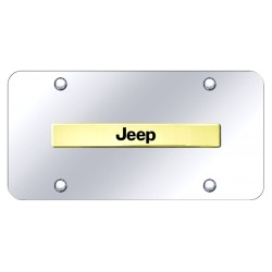 "Jeep Placa decorativa en Acero Inoxidable 12"" X 6"" Logo Dorado"