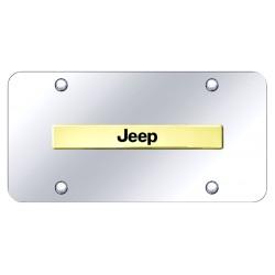 """Jeep Placa decorativa en Acero Inoxidable 12"""" X 6"""" Logo Dorado"""